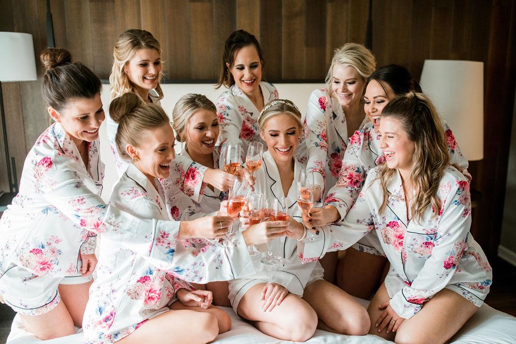 Bridal party toasting: Lavish Union Station Hotel Wedding featured on Nashville Bride Guide