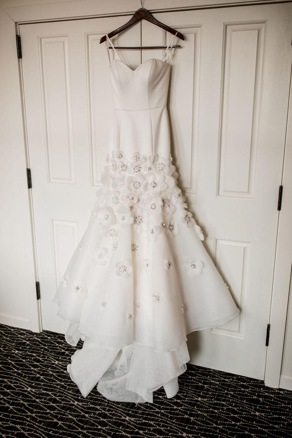 Floral encrusted wedding dress: Lavish Union Station Hotel Wedding featured on Nashville Bride Guide