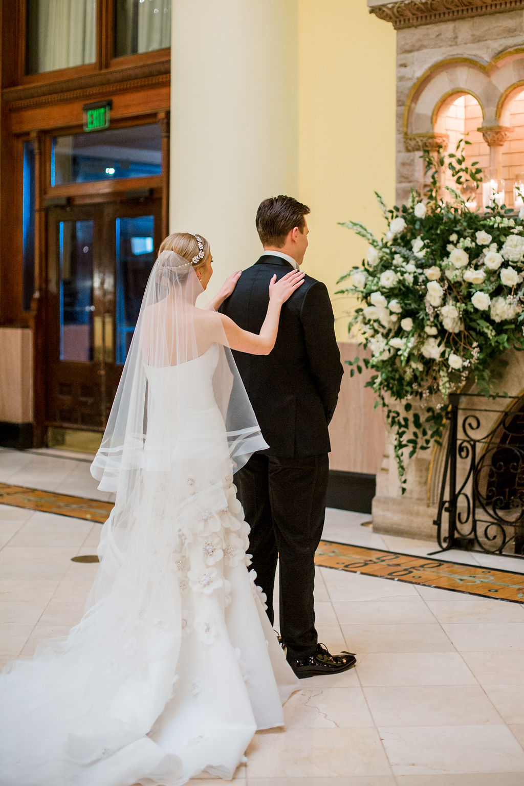 Wedding first look photography: Lavish Union Station Hotel Wedding featured on Nashville Bride Guide