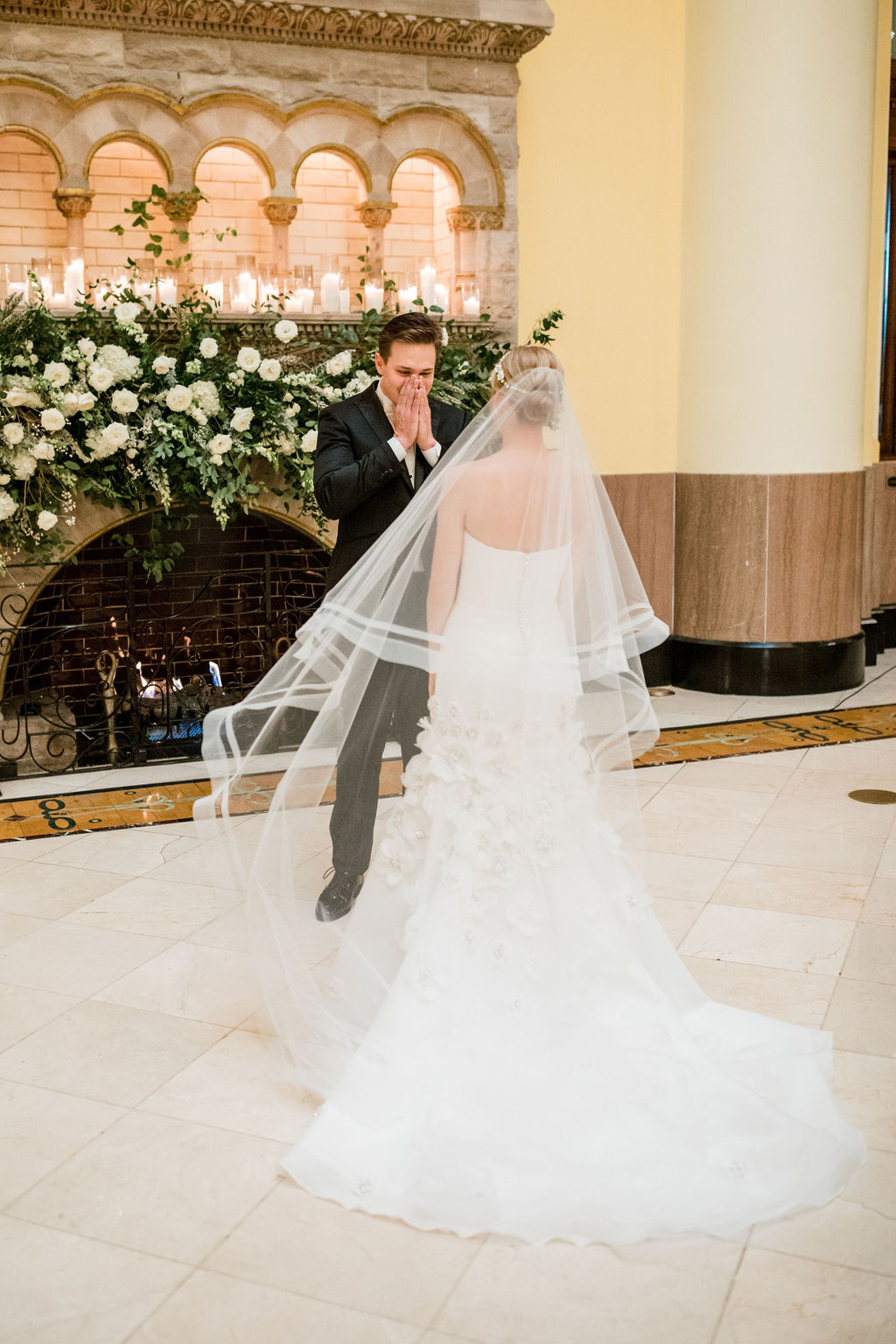 Grooms reaction to bride during first look: Lavish Union Station Hotel Wedding featured on Nashville Bride Guide