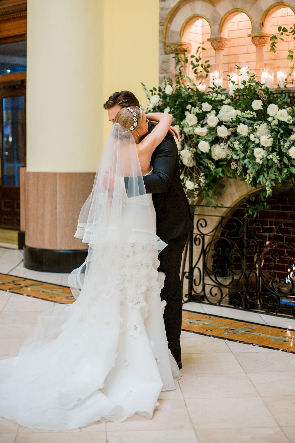 Wedding first look photo: Lavish Union Station Hotel Wedding featured on Nashville Bride Guide