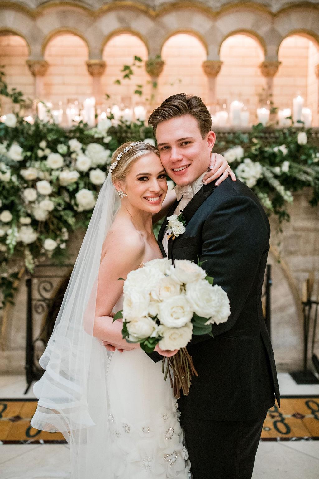 White wedding bouquet: Lavish Union Station Hotel Wedding featured on Nashville Bride Guide