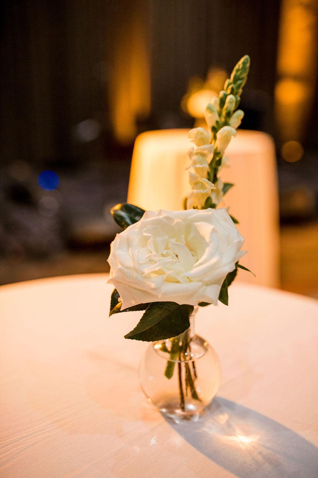 Simple white floral wedding centerpieces: Lavish Union Station Hotel Wedding featured on Nashville Bride Guide