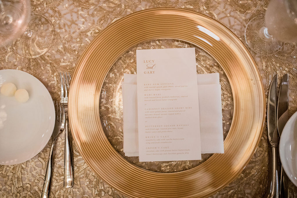 Gold charger wedding place setting: Nashville wedding by John Myers Photography featured on Nashville Bride Guide