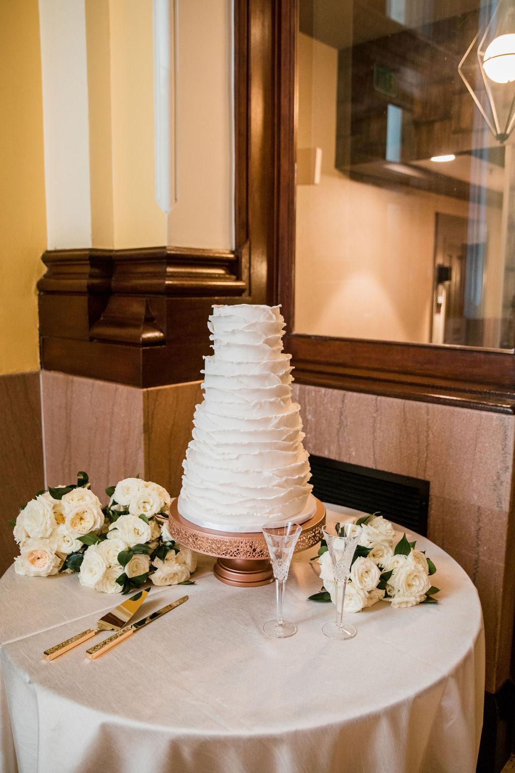White wedding cake: Nashville wedding by John Myers Photography featured on Nashville Bride Guide