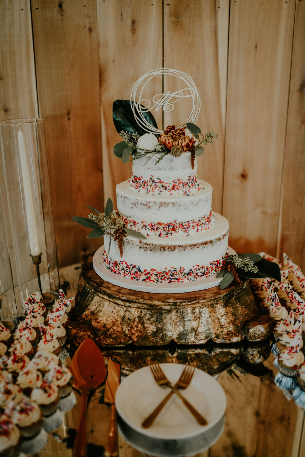 Wedding cake design and dessert table: Boho Barn Wedding by Melissa Marie Floral Designs