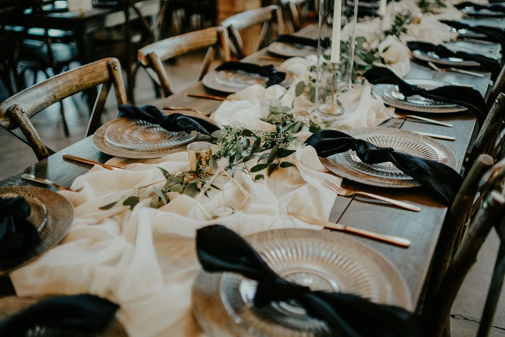 Wedding table decor: Boho Barn Wedding by Melissa Marie Floral Designs