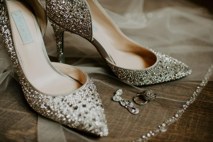 Embellished bridal shoes: Romantic Nashville Wedding at The Bedford featured on Nashville Bride Guide