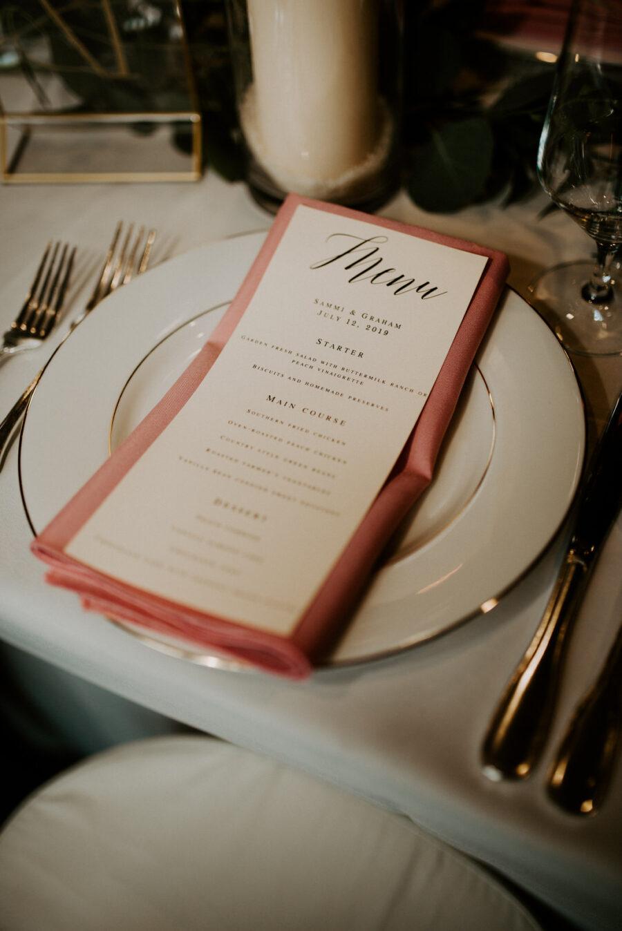 Elegant wedding place setting: Romantic Nashville Wedding at The Bedford featured on Nashville Bride Guide