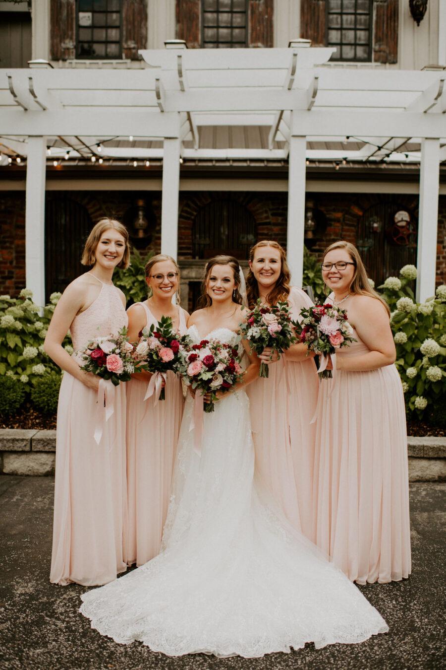 Blush pink bridesmaids dresses: Romantic Nashville Wedding at The Bedford featured on Nashville Bride Guide