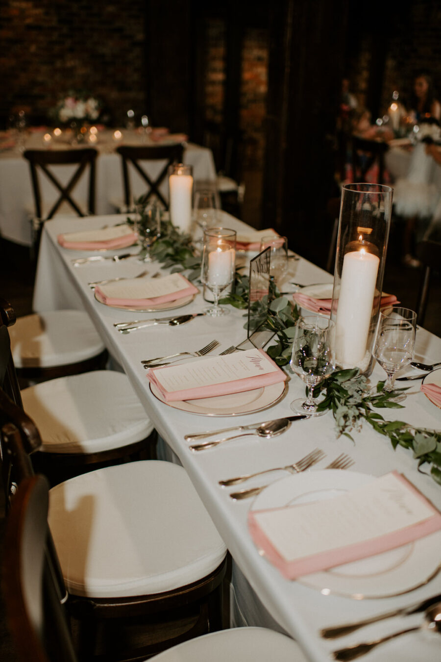 Blush pink and greenery wedding table decor: Romantic Nashville Wedding at The Bedford featured on Nashville Bride Guide