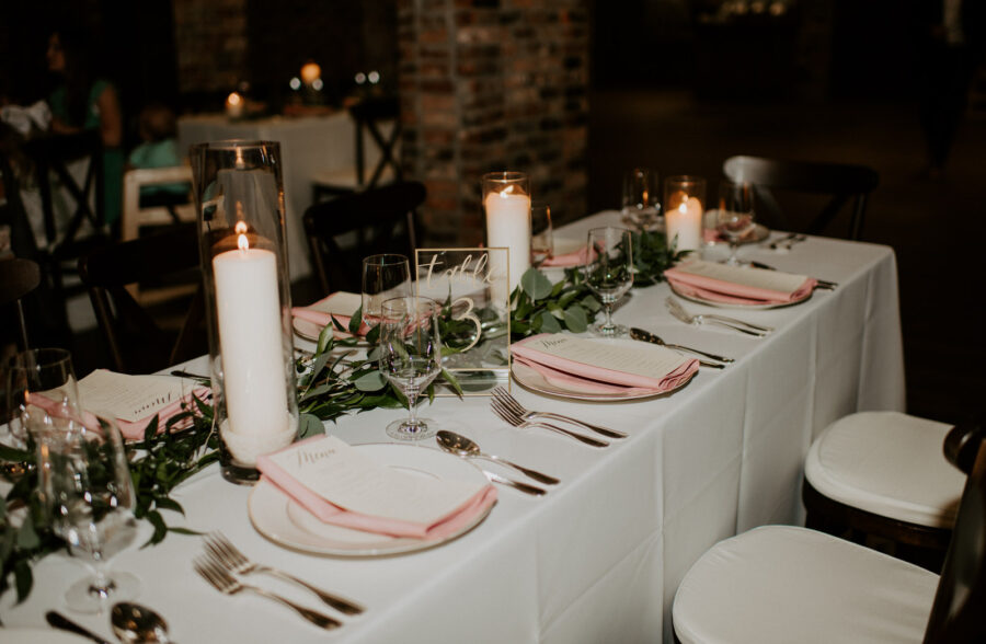 Greenery wedding table runner: Romantic Nashville Wedding at The Bedford featured on Nashville Bride Guide