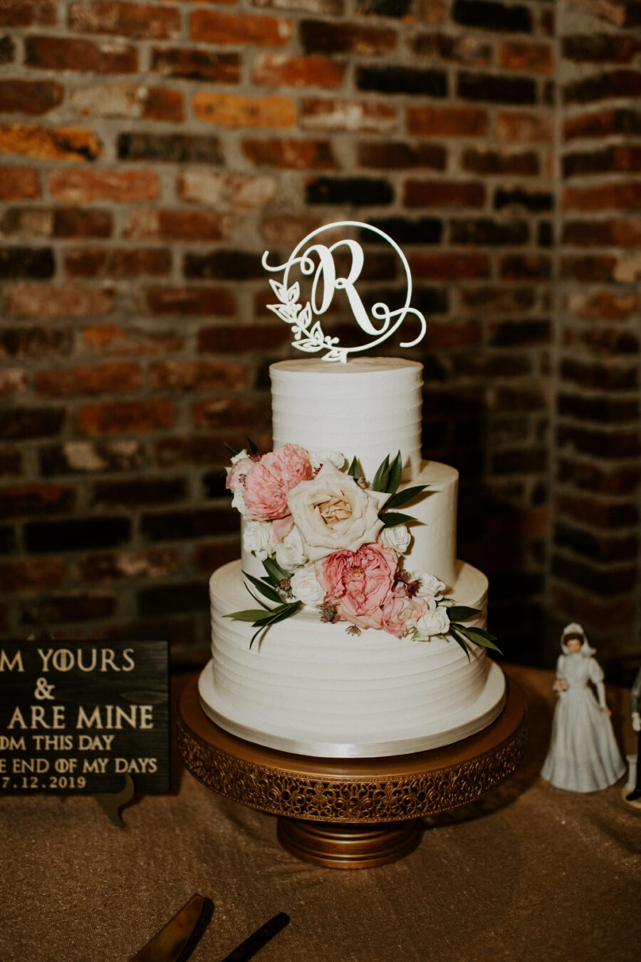 Pink and white floral wedding cake: Romantic Nashville Wedding at The Bedford featured on Nashville Bride Guide