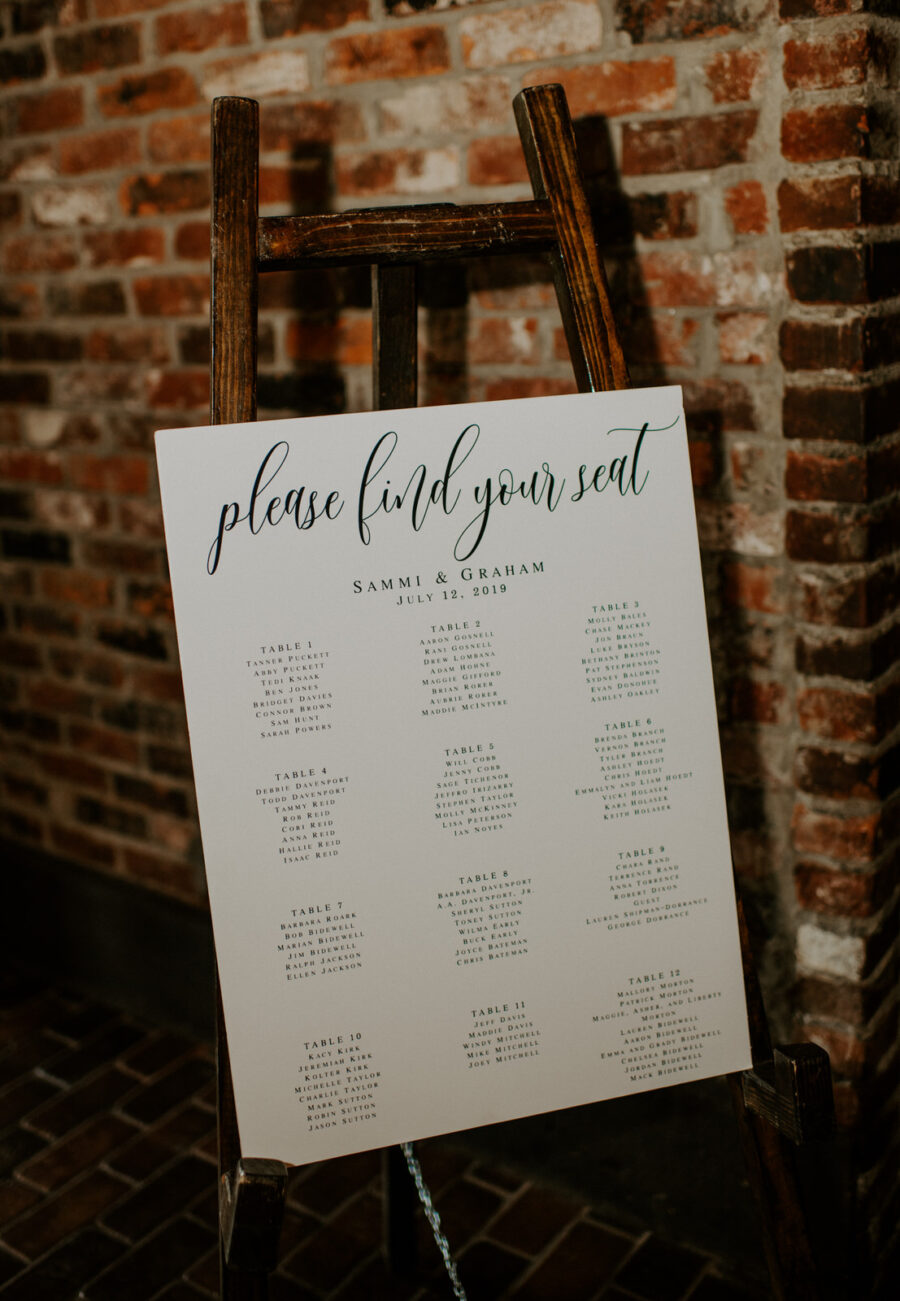 Wedding seating chart display: Romantic Nashville Wedding at The Bedford featured on Nashville Bride Guide