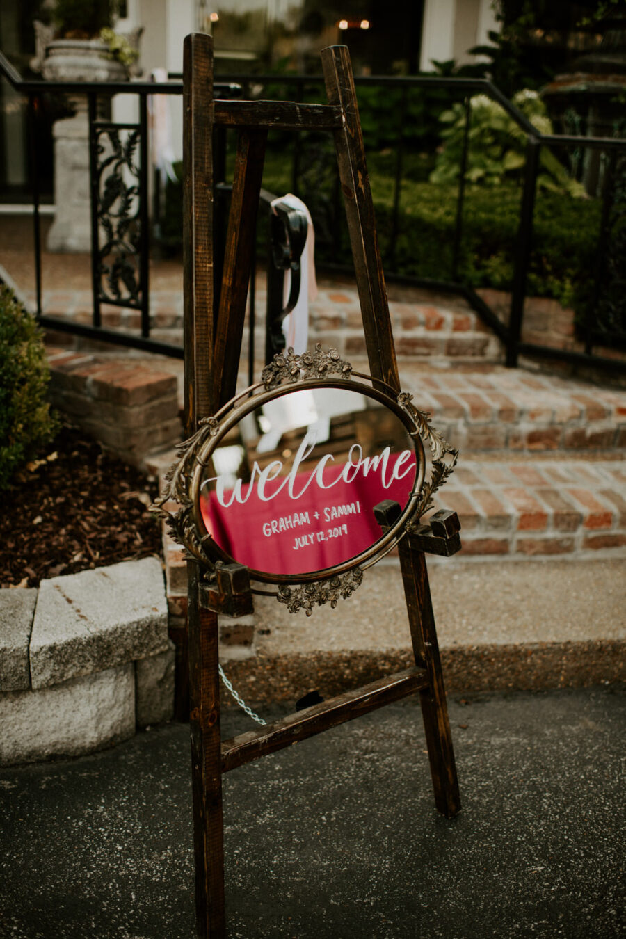 Antique mirror wedding welcome sign: Romantic Nashville Wedding at The Bedford featured on Nashville Bride Guide