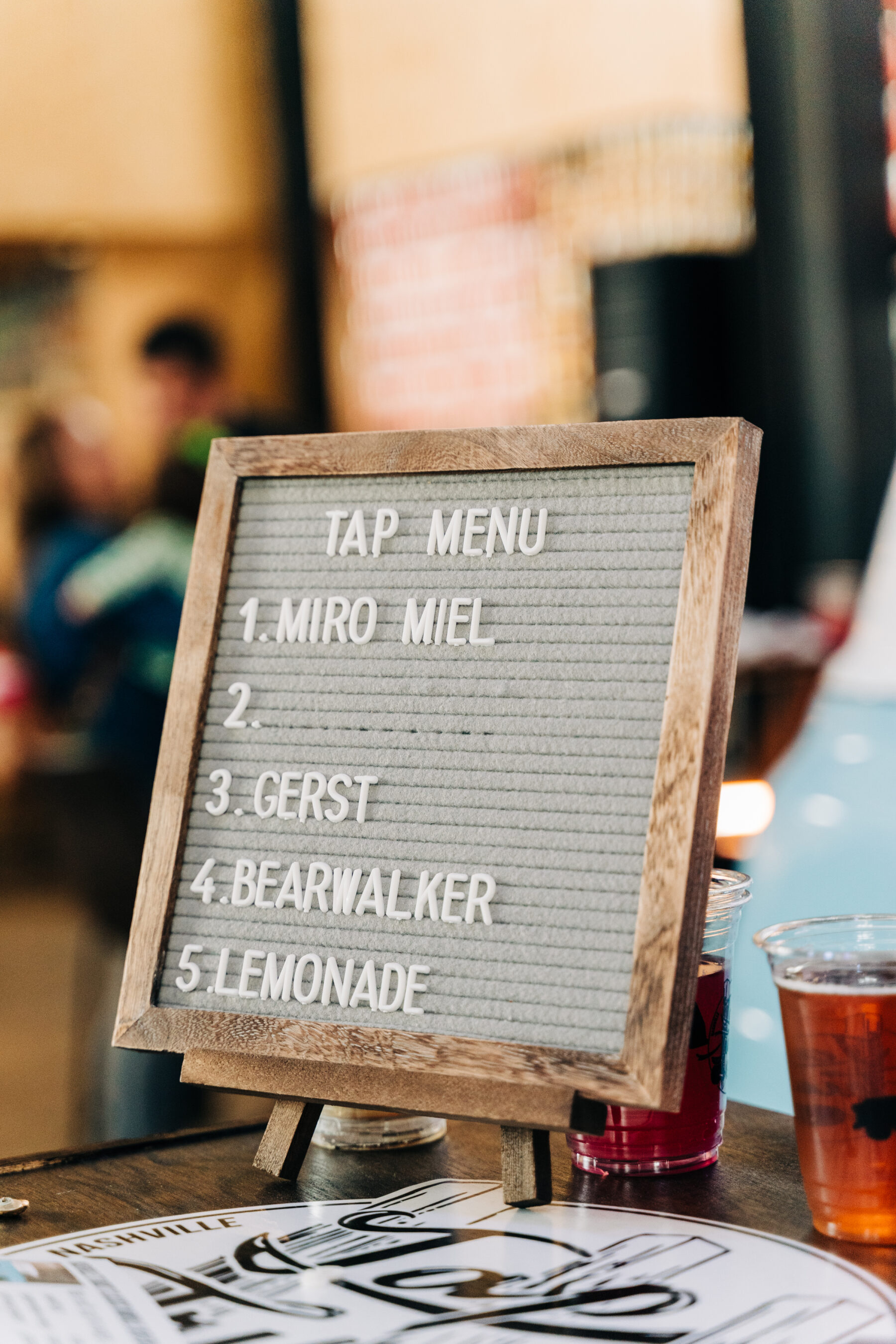 Bar Menu for Tap Truck Nashville Launch Party