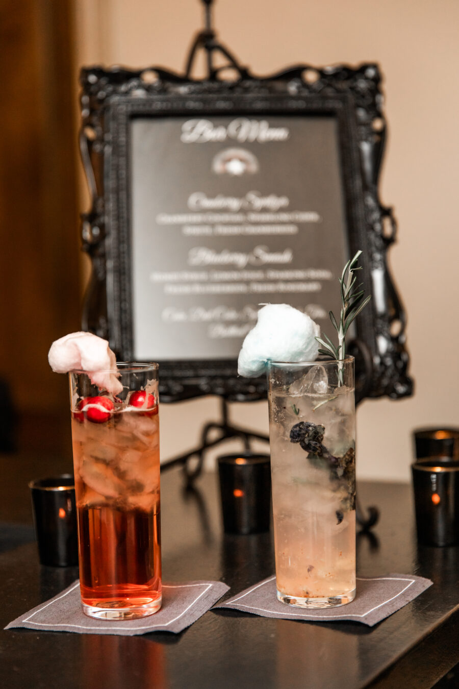 Wedding drinks with cotton candy: Nashville Wish Upon a Wedding captured by Nyk + Cali Photography featured on Nashville Bride Guide
