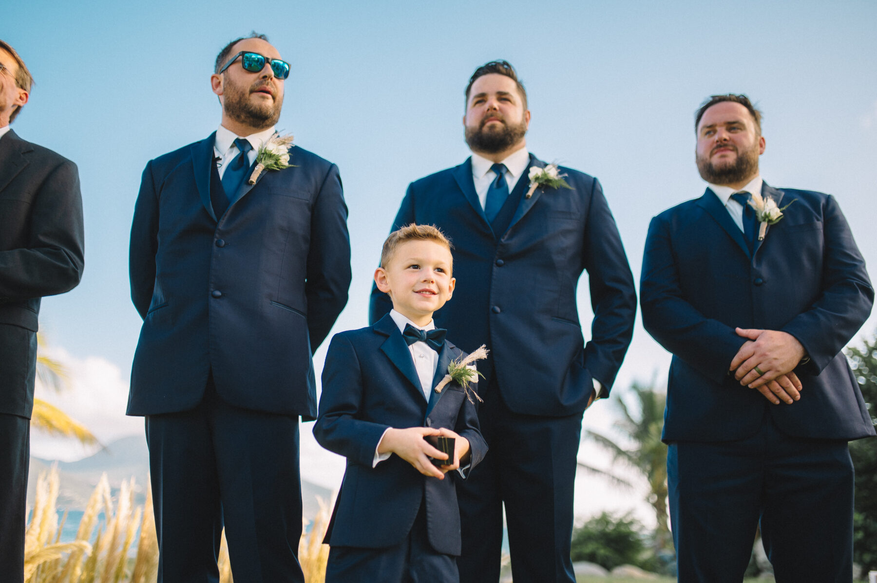 Groom and groomsmen waiting for bride to walk down the aisle: Intimate Caribbean Wedding by Details Nashville