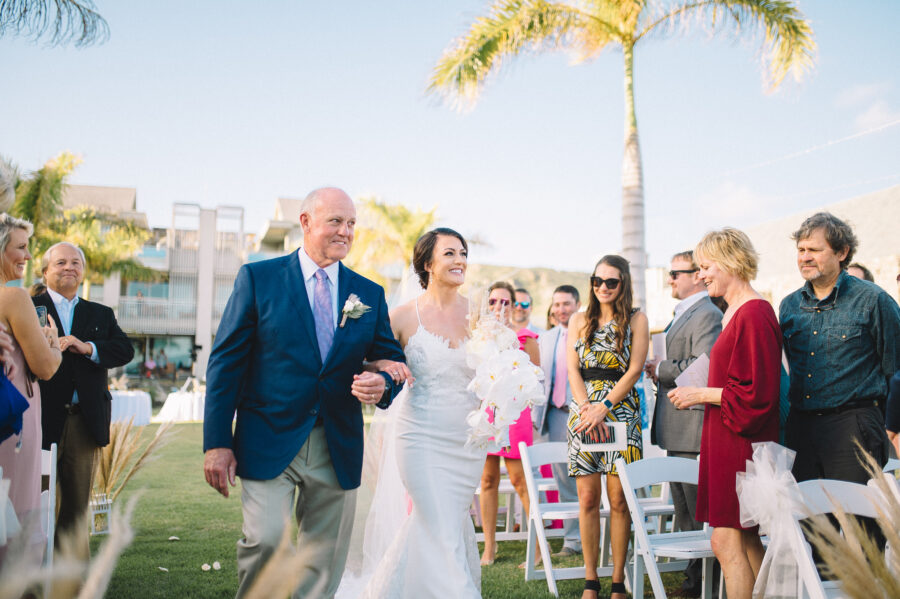 Bride and her father walking down the aisle: Intimate Caribbean Wedding by Details Nashville