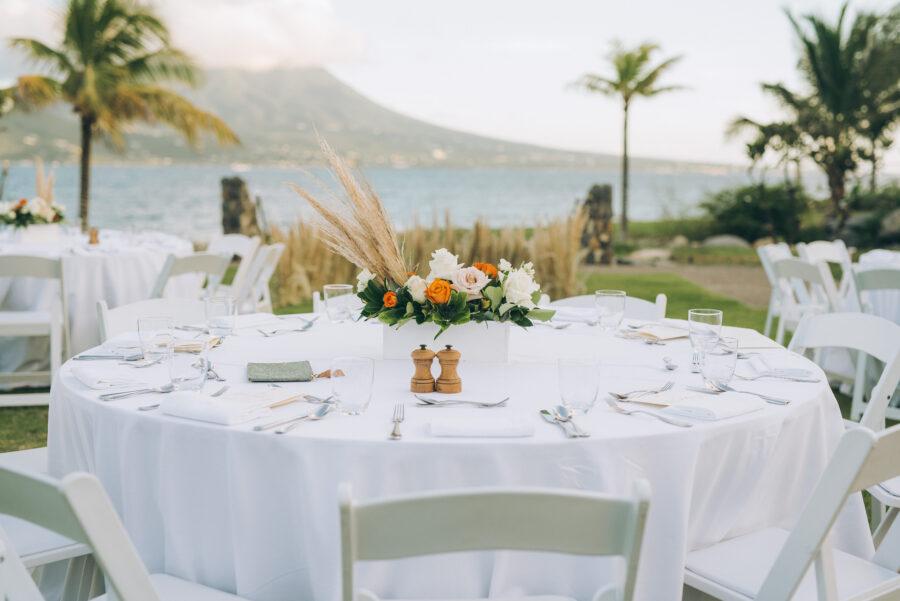 Outdoor wedding reception decor: Intimate Caribbean Wedding by Details Nashville