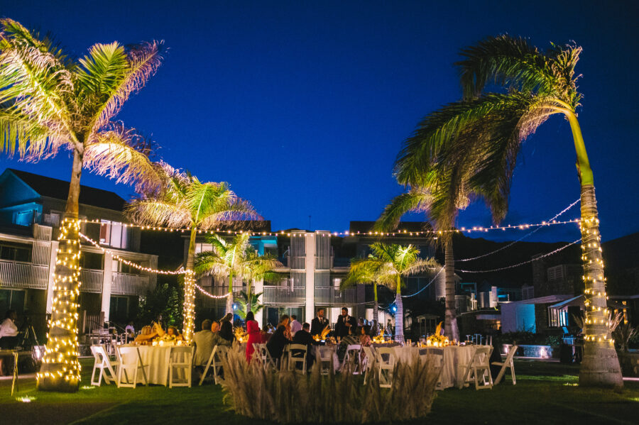 Outdoor beach wedding reception: Intimate Caribbean Wedding by Details Nashville featured on Nashville Bride Guide