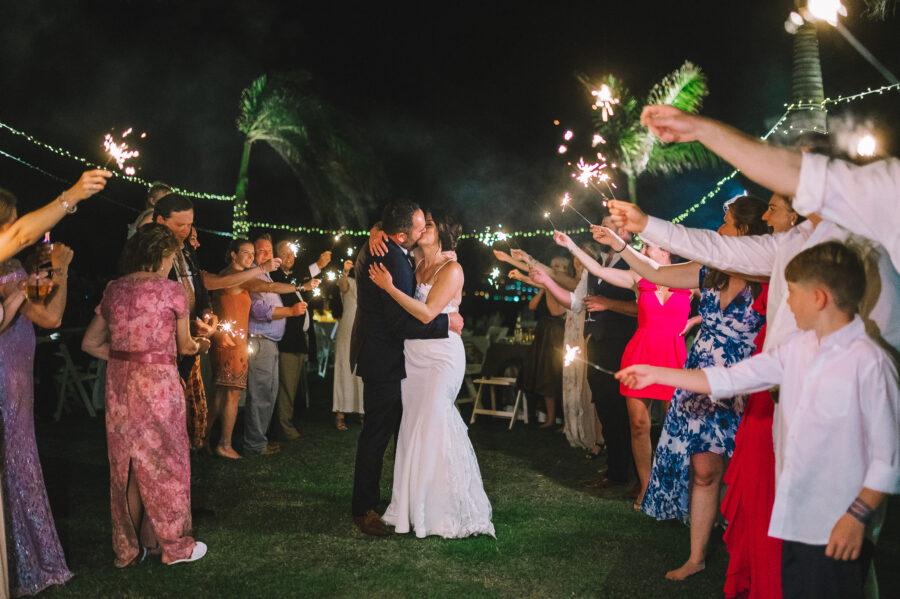 Sparkler wedding exit: Intimate Caribbean Wedding by Details Nashville featured on Nashville Bride Guide