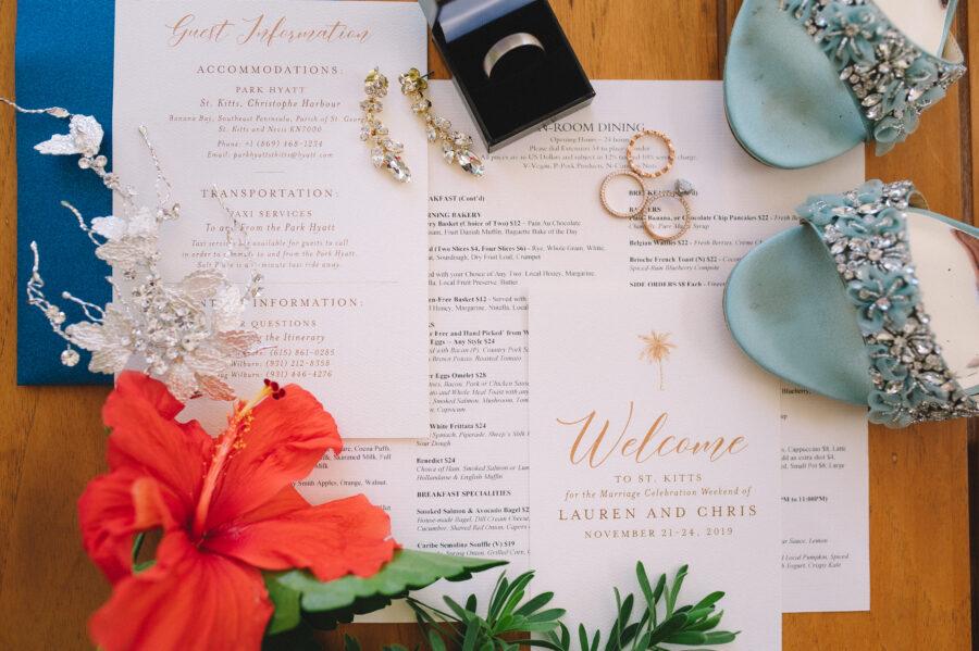 Tropical wedding invitation suite: Intimate Caribbean Wedding by Details Nashville featured on Nashville Bride Guide