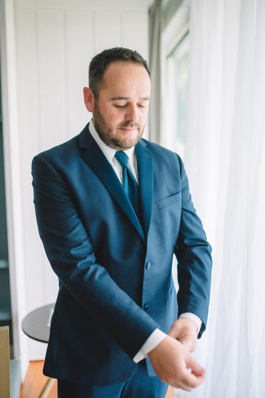 Navy blue groom's attire: Intimate Caribbean Wedding by Details Nashville featured on Nashville Bride Guide