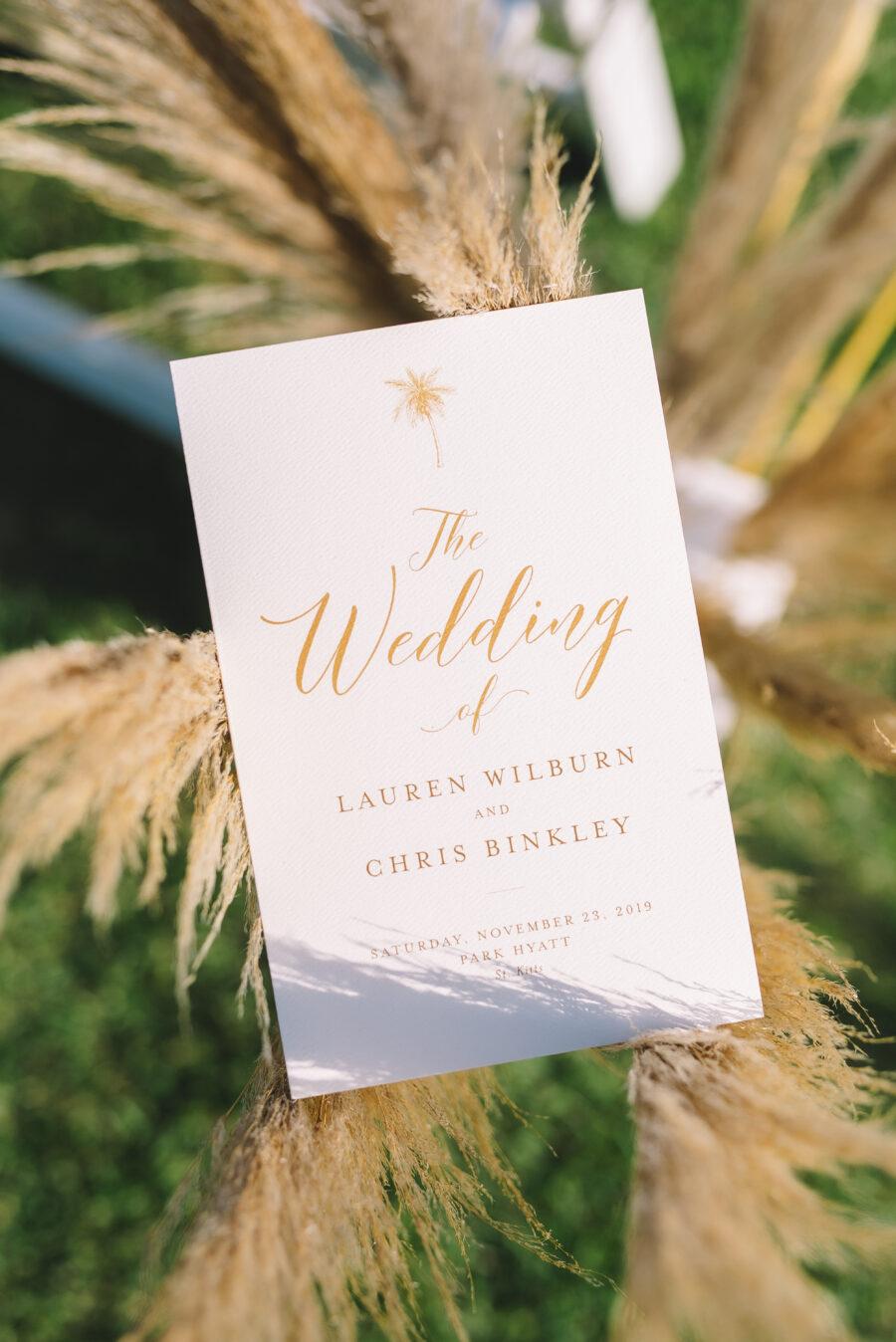 Wedding ceremony program design: Intimate Caribbean Wedding by Details Nashville featured on Nashville Bride Guide