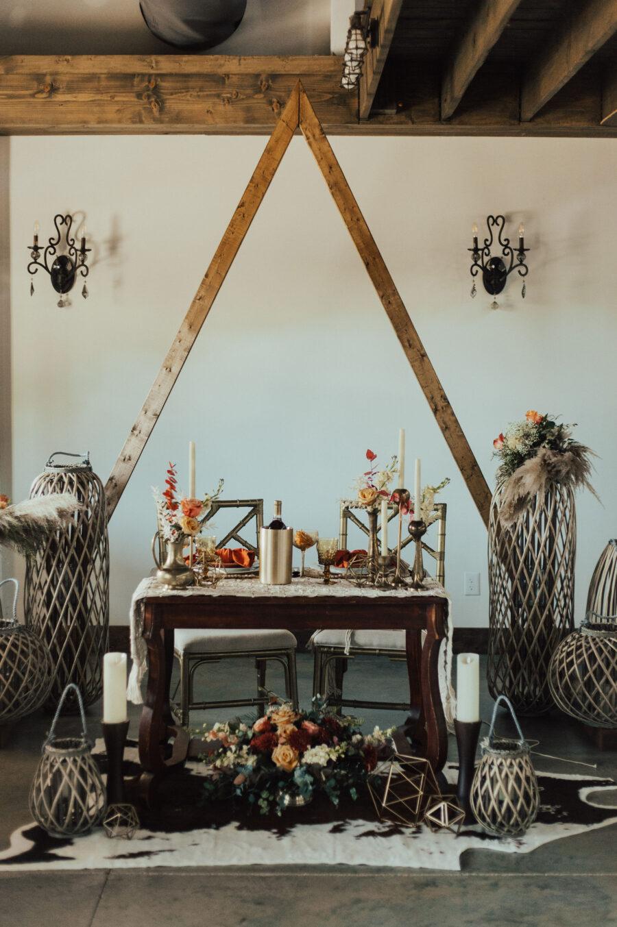 Boho wedding sweetheart table: Bright Bohemian Photo Shoot from Ina J Designs
