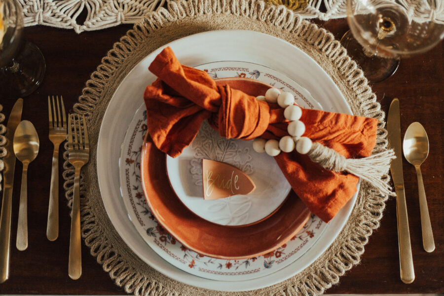 Orange boho wedding place setting: Bright Bohemian Photo Shoot from Ina J Designs
