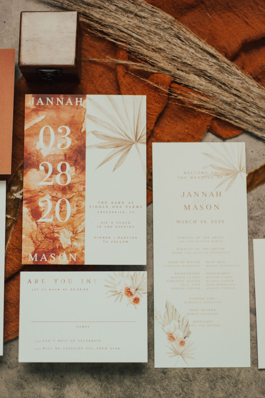 Wedding Invitation Suite: Bright Bohemian Photo Shoot from Ina J Designs