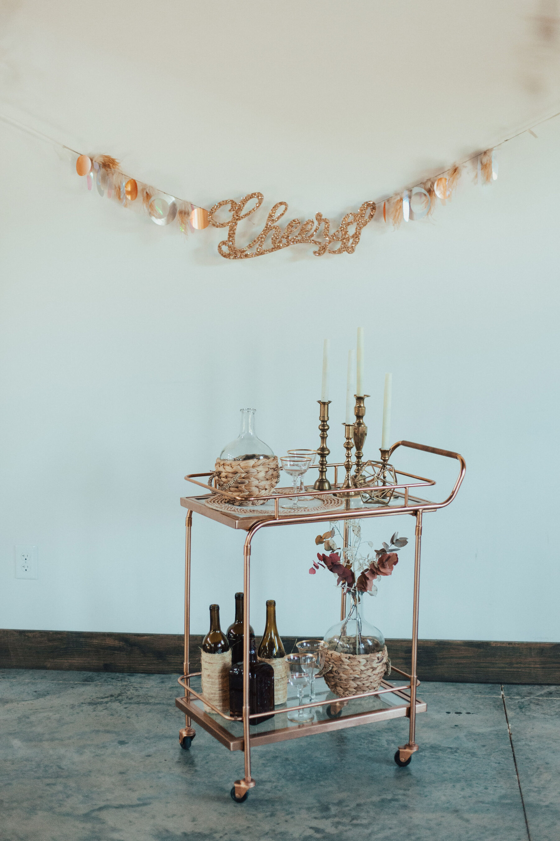Vintage bar cart: Bright Bohemian Photo Shoot from Ina J Designs