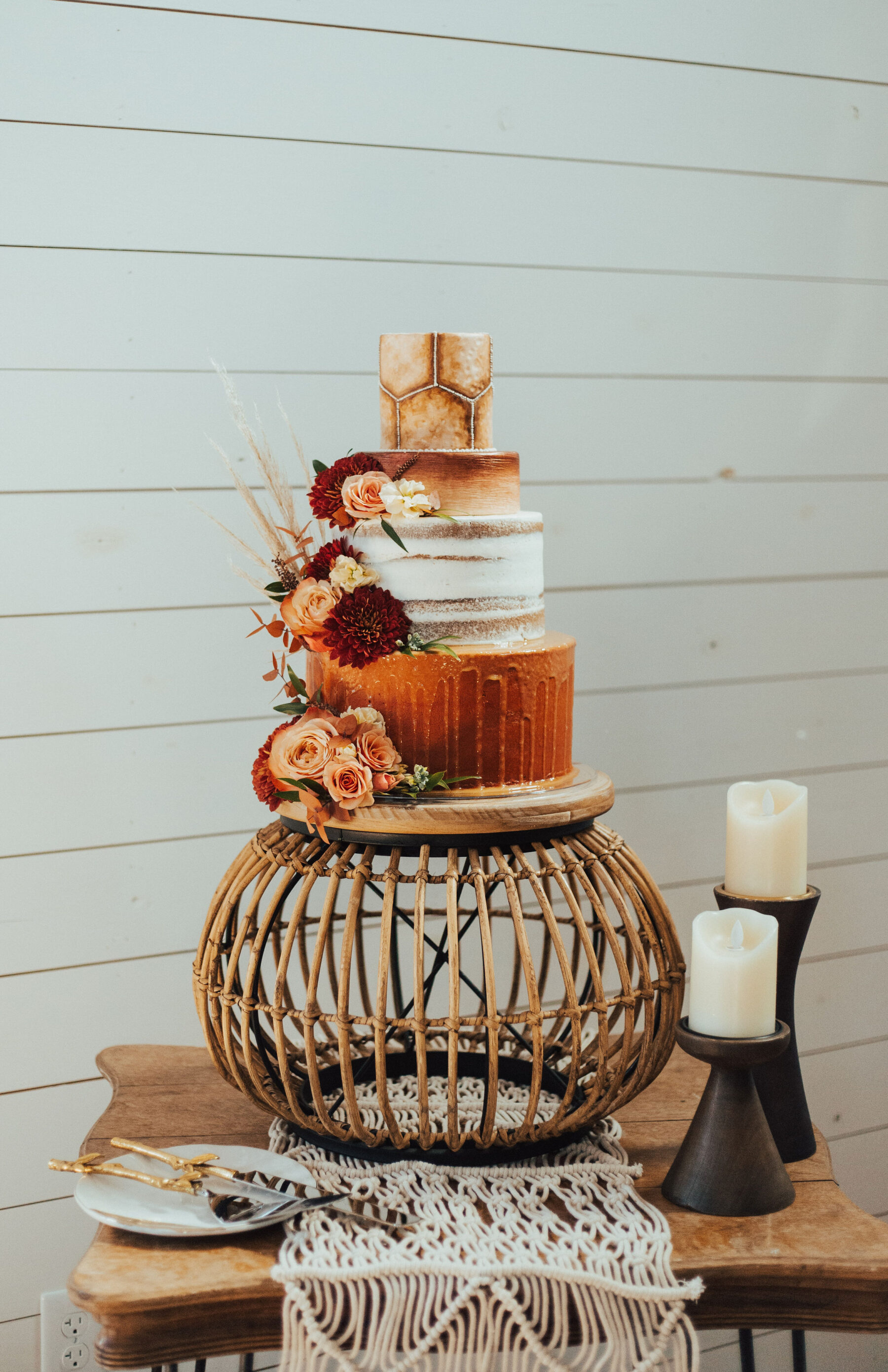 Southern Charm wedding cake design: Bright Bohemian Photo Shoot from Ina J Designs