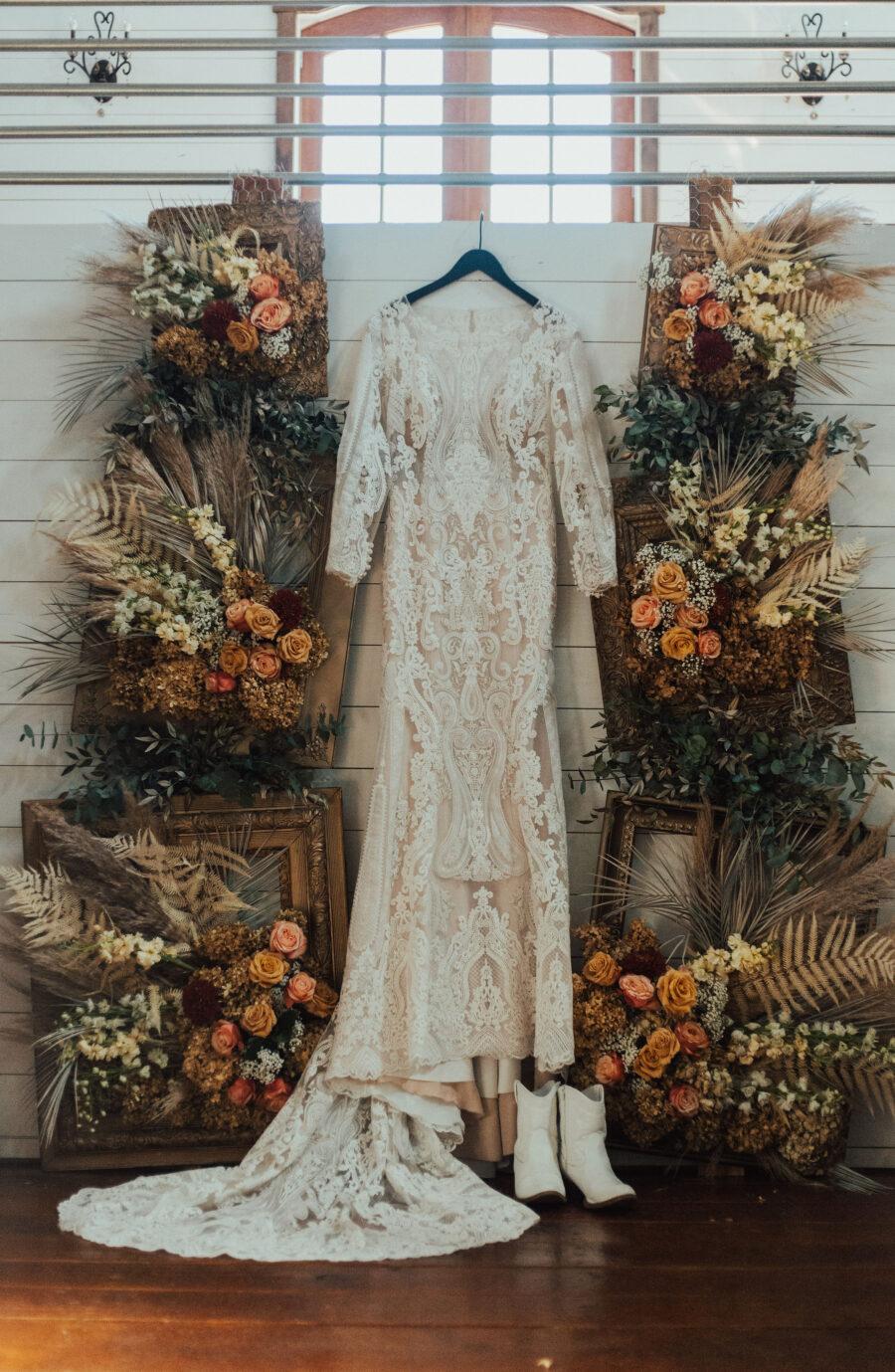 Lace wedding dress: Bright Bohemian Photo Shoot from Ina J Designs