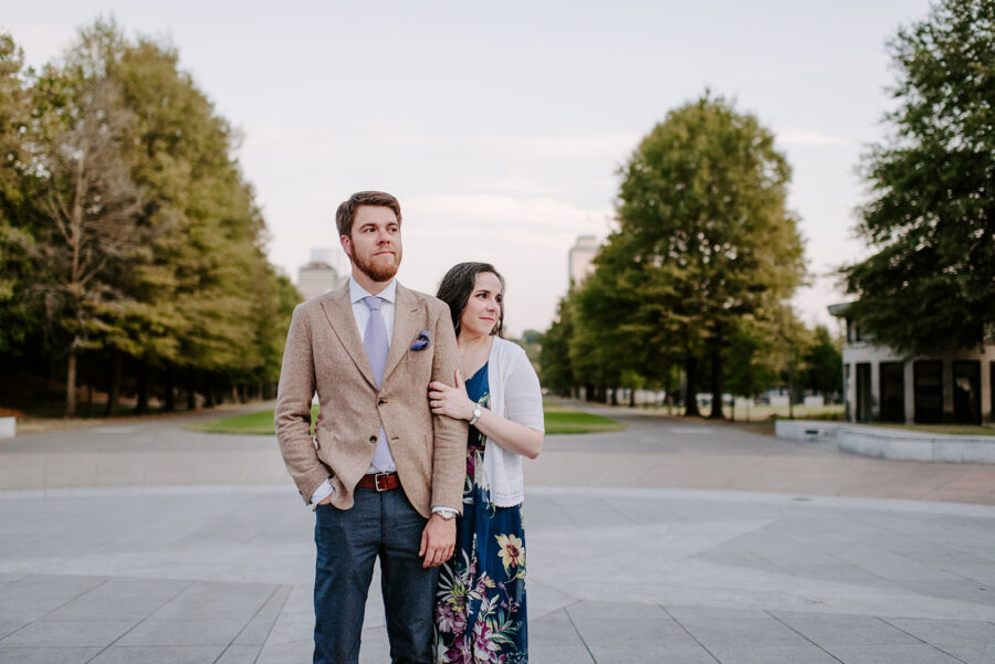 Fun Downtown Engagement Shoot from Sara Bill Photography featured on Nashville Bride Guide