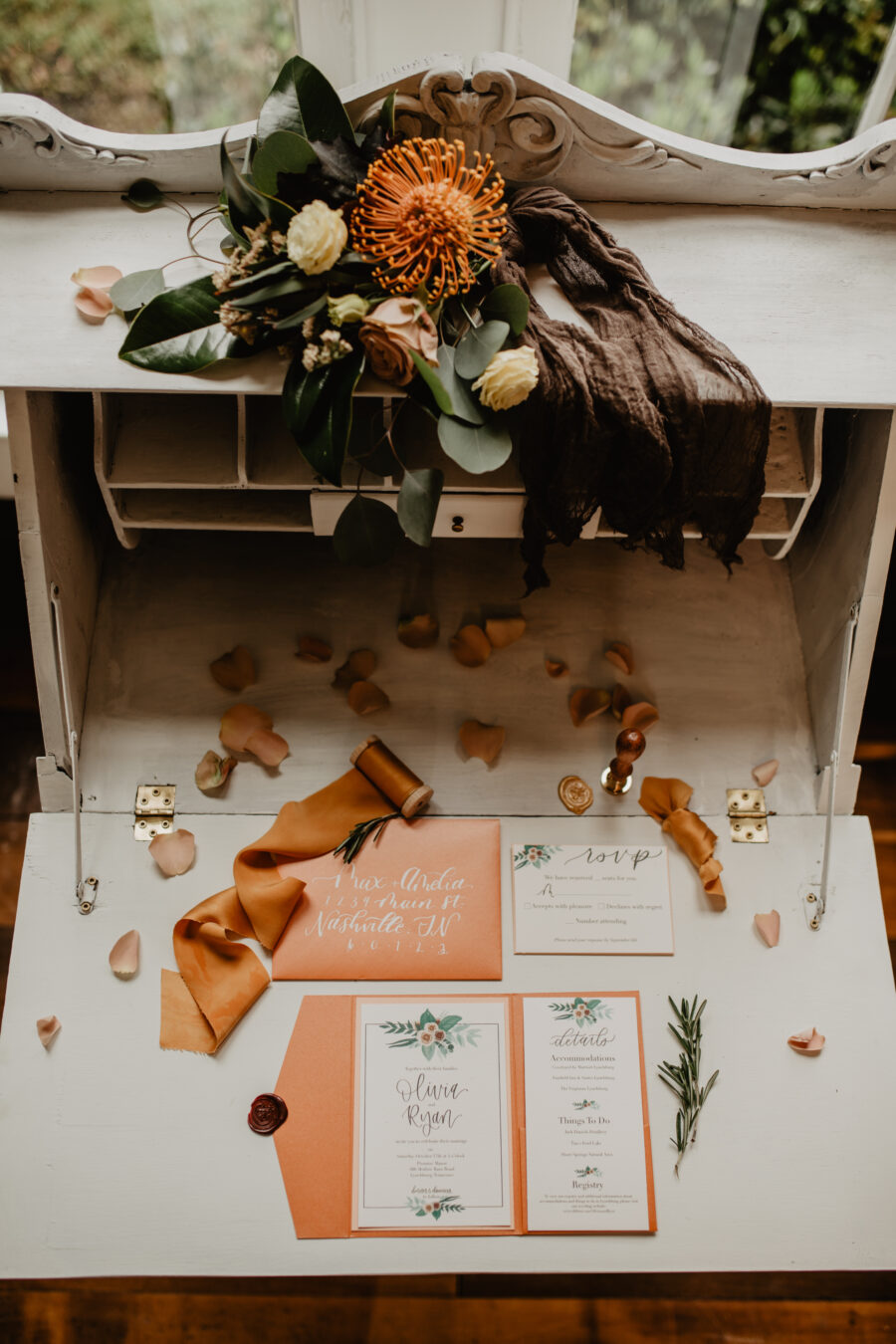 Orange wedding invitation suite: Stunning Fall Styled Shoot at Promise Manor featured on Nashville Bride Guide