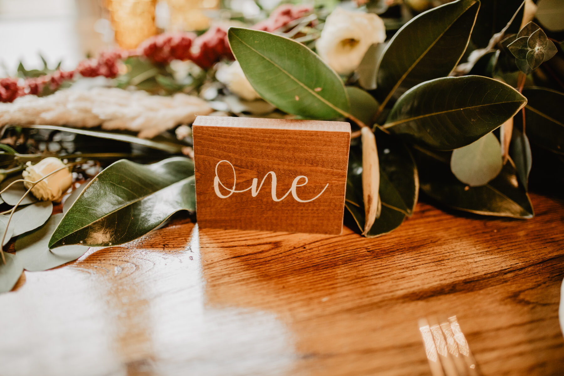 Hand-lettered wood table number: Stunning Fall Styled Shoot at Promise Manor featured on Nashville Bride Guide