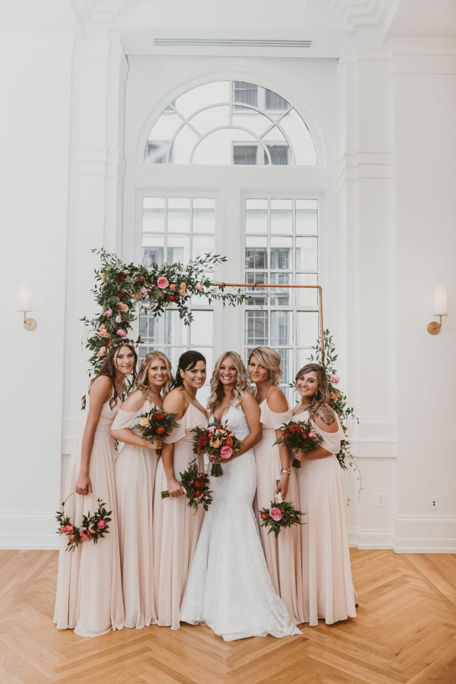 Blush pink bridesmaids dresses: Summer Tennessee Wedding at Noelle from Jayde J. Smith Events featured on Nashville Bride Guide