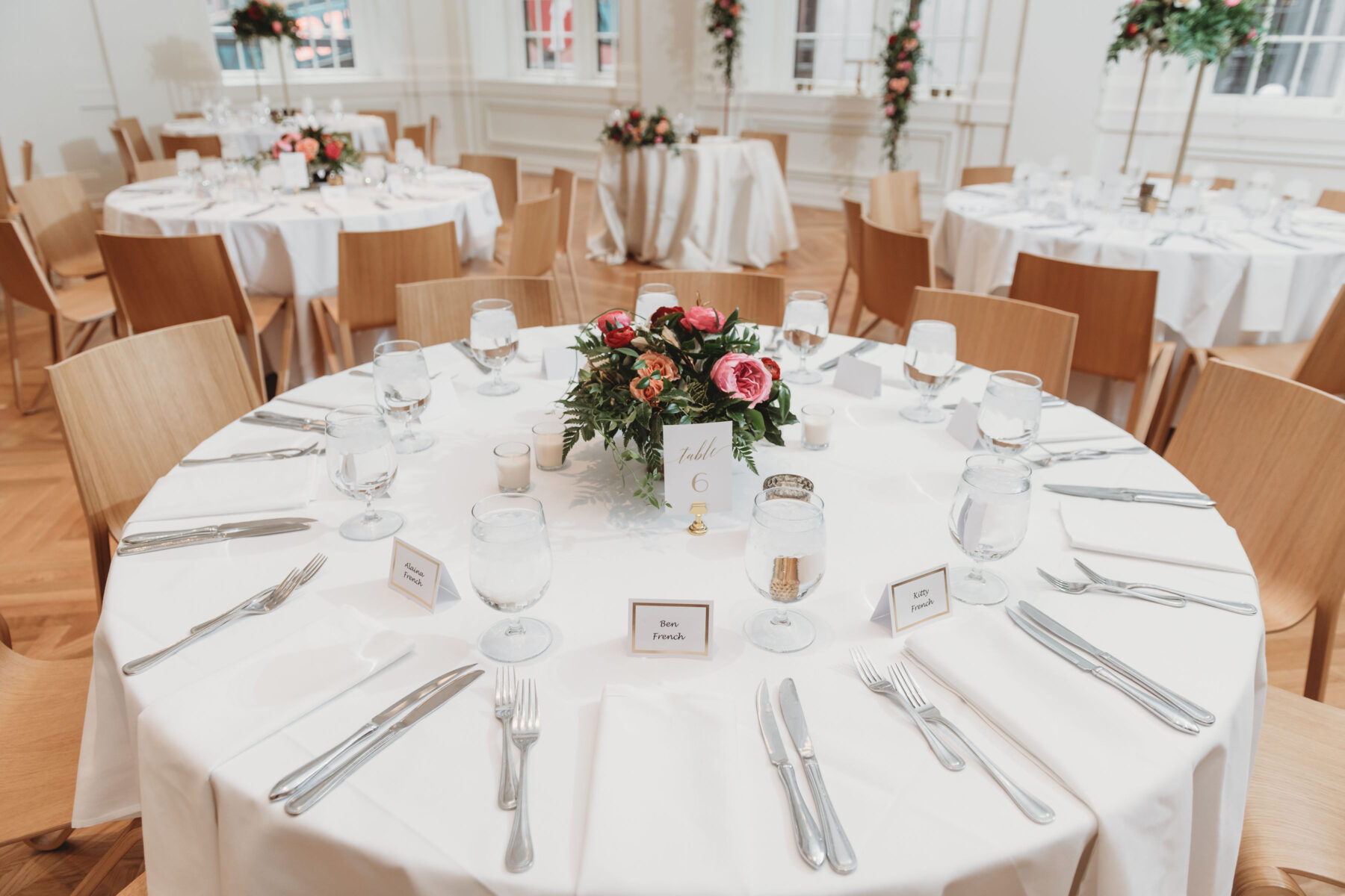 Pink and red wedding centerpieces: Summer Tennessee Wedding at Noelle from Jayde J. Smith Events featured on Nashville Bride Guide