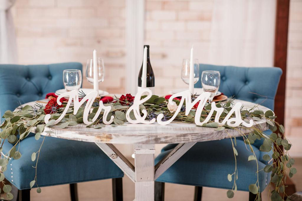 Wedding sweetheart table decor: Intimate Barn Wedding from John Myers Photography