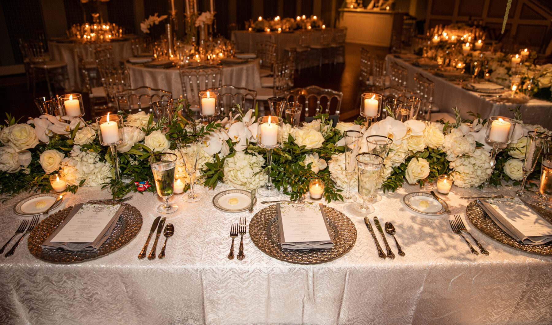Wedding table decor: Floral Filled Luxurious Wedding by LMA Designs featured on Nashville Bride Guide