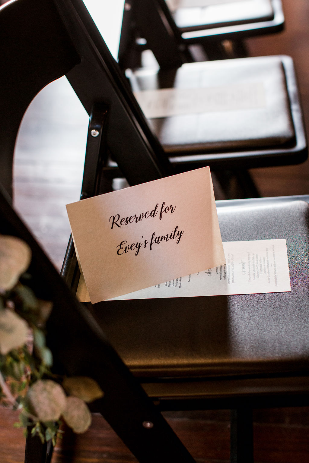 Reserved wedding ceremony seating sign: Burgundy and Navy Wedding at Clementine Hall