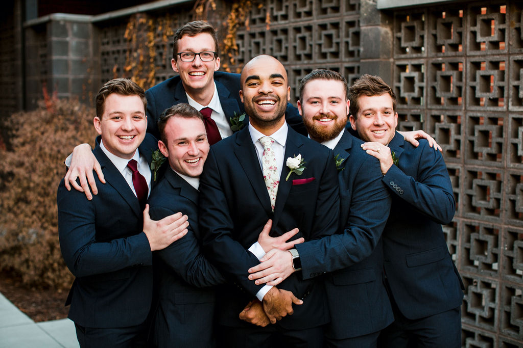 Navy groomsmen tuxedo: John Myers Photography and Videography featured on Nashville Bride Guide