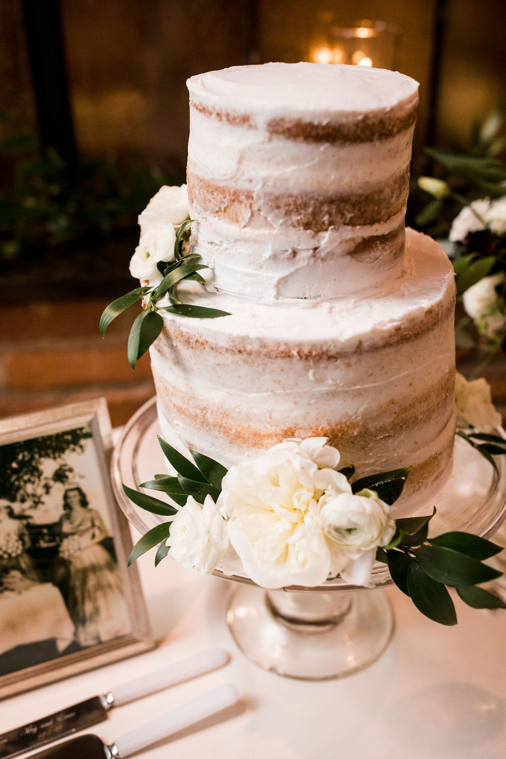 Semi naked wedding cake design: Burgundy and Navy Wedding at Clementine Hall