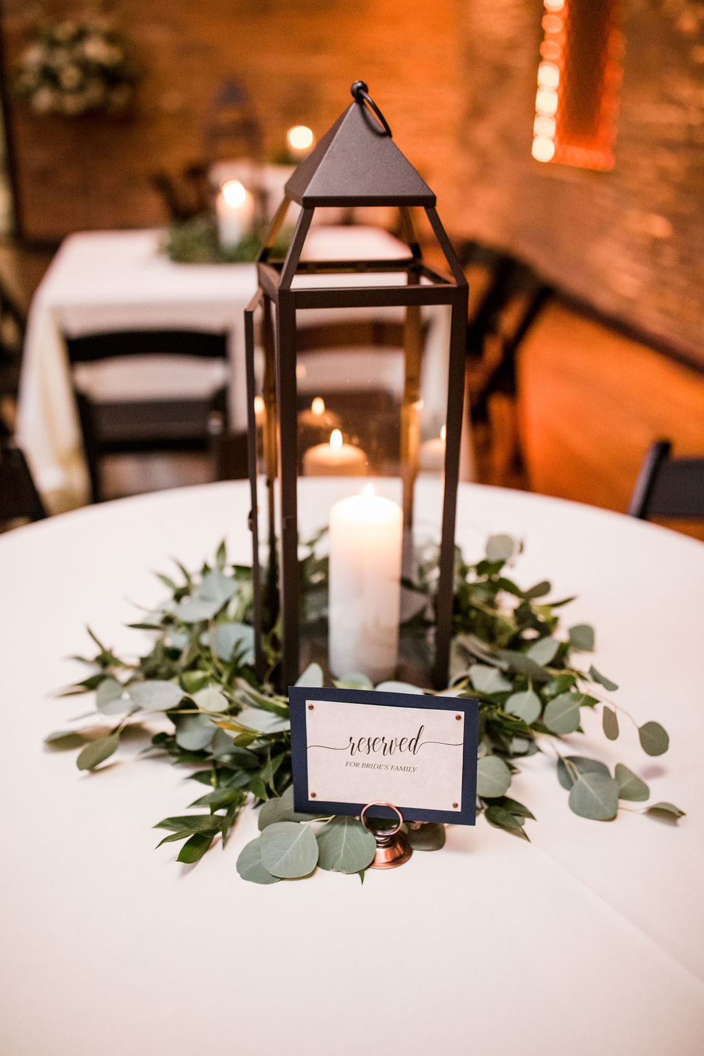 Wedding lantern centerpiece: Burgundy and Navy Wedding at Clementine Hall