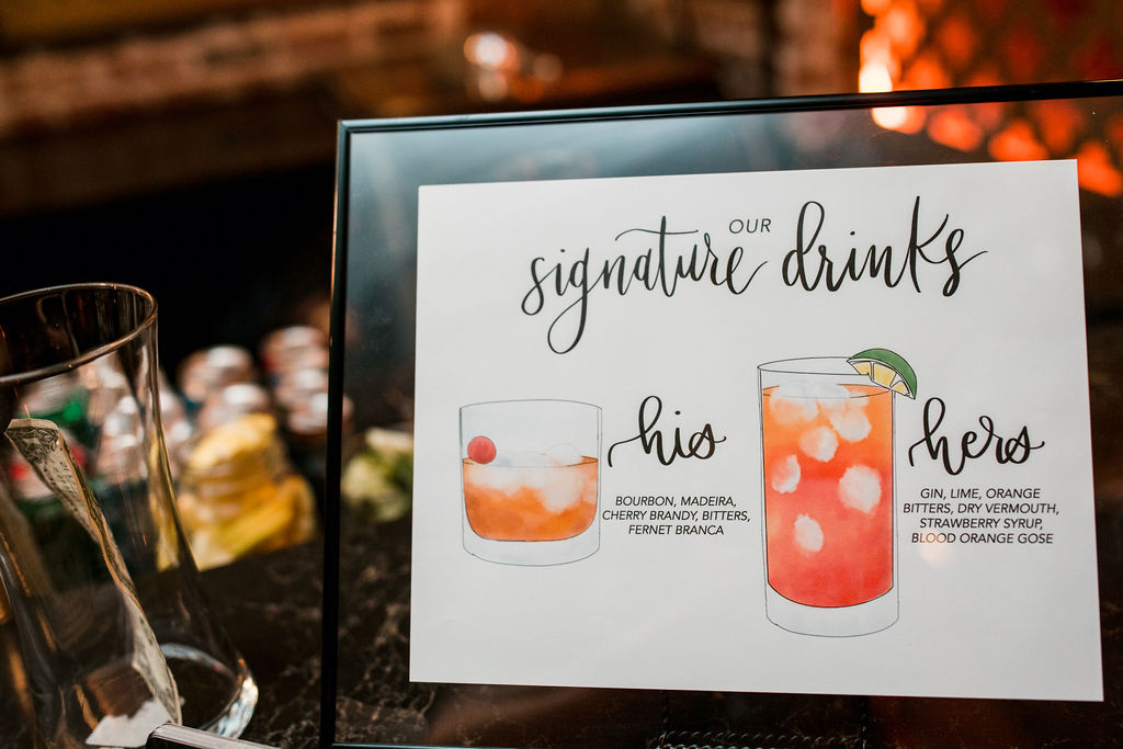 Wedding signature drink ideas: Burgundy and Navy Wedding at Clementine Hall