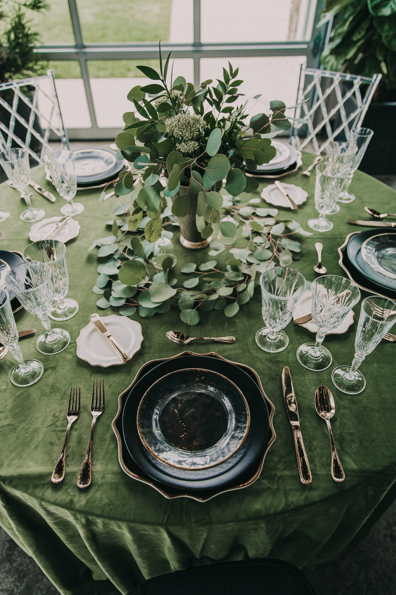 Wedding table setting: Shades of Green Legacy Styled Shoot by Music City Events and Billie-Shaye Style featured on Nashville Bride Guide