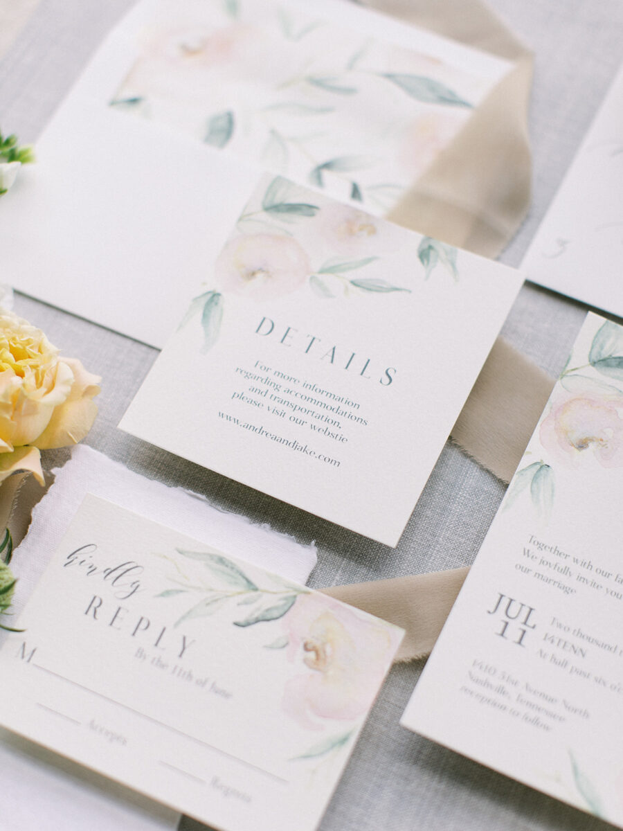 Floral wedding invitation design: Clean & Modern Styled Shoot at 14TENN featured on Nashville Bride Guide