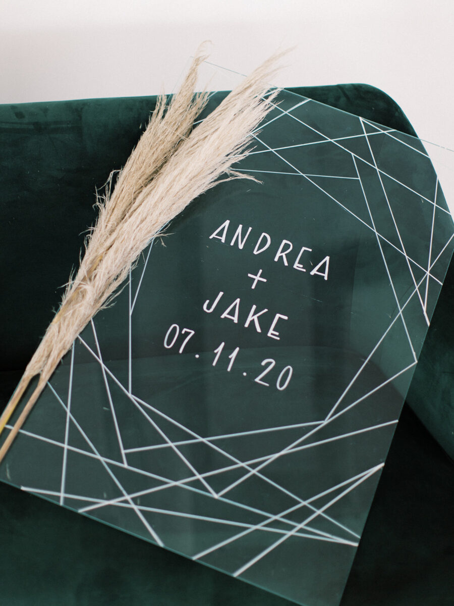 Geometric acrylic wedding sign: Clean & Modern Styled Shoot at 14TENN featured on Nashville Bride Guide